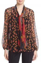 Diane von Furstenberg  Havanah  Print Silk Tie Neck Blouse at Nordstrom
