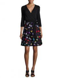 Diane von Furstenberg 34-Sleeve Floral-Print Wrap Dress at Neiman Marcus