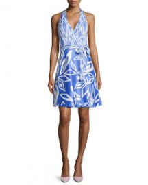 Diane von Furstenberg Amelia Halter Wrap Dress in Ikat Print at Neiman Marcus