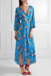 Diane von Furstenberg Asymmetric wrap effect floral print maxi dress at Net A Porter