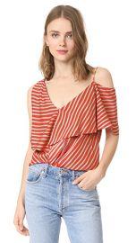 Diane von Furstenberg Asymmetrical Sleeve Ruffle Front Top at Shopbop