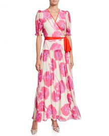 Diane von Furstenberg Breeze Floral-Print Silk Long Wrap Dress at Neiman Marcus