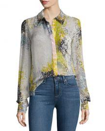 Diane von Furstenberg Carter Splatter-Print Silk Blouse at Neiman Marcus