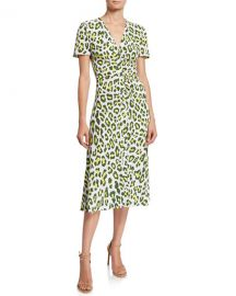 Diane von Furstenberg Cecilia Leopard-Print Button-Front Midi Dress at Neiman Marcus