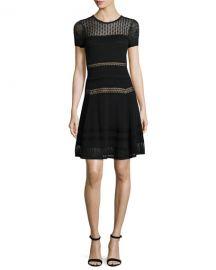 Diane von Furstenberg Celina Pointelle Party Dress  Black at Neiman Marcus