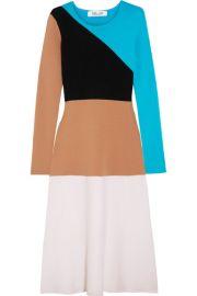 Diane von Furstenberg Color-block wool midi dress at Net A Porter
