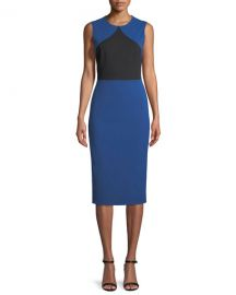 Diane von Furstenberg Colorblock Sleeveless Sheath Midi Dress at Neiman Marcus