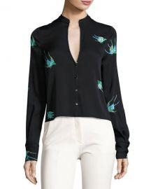 Diane von Furstenberg Cropped Bird Print Silk Jersey V Neck Shirt at Neiman Marcus