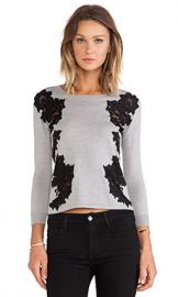Diane von Furstenberg Doreen Floral Applique Pullover in Fog and Black at Revolve