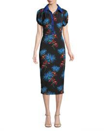 Diane von Furstenberg Elly Floral Short-Sleeve Midi Polo Dress at Neiman Marcus