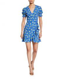Diane von Furstenberg Emilia Floral Short-Sleeve Wrap Dress at Neiman Marcus