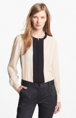 Diane von Furstenberg Etta Colorblock Silk Blouse at Nordstrom