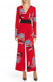 Diane von Furstenberg Floral Print Crossover Jumpsuit at Nordstrom
