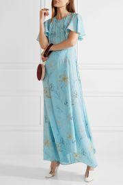 Diane von Furstenberg Floral Print Silk Drepe de Chine Maxi Dress  at Net A Porter