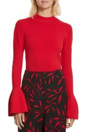 Diane von Furstenberg Flutter Sleeve Mock Neck Sweater at Nordstrom