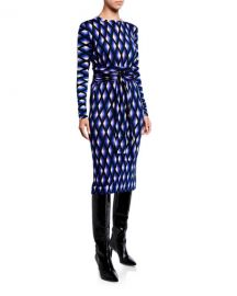 Diane von Furstenberg Gabel Printed Wool Belted Dress at Neiman Marcus