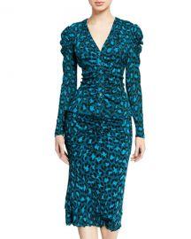 Diane von Furstenberg Gladys Leopard-Print Button-Front Top at Neiman Marcus