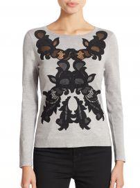 Diane von Furstenberg Gray Shana Floral Applique Sweater at Saks Fifth Avenue