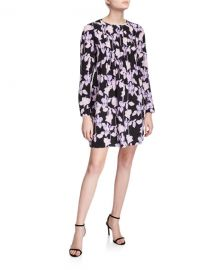 Diane von Furstenberg Joyce Pleated Floral-Print Dress at Neiman Marcus