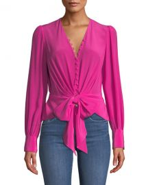 Diane von Furstenberg Julianna Tie-Front Silk Button-Down Top at Neiman Marcus