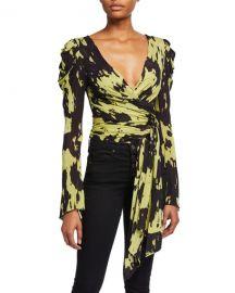 Diane von Furstenberg Kayleigh Print Jersey Wrap Top at Neiman Marcus