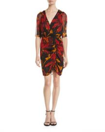 Diane von Furstenberg Kelda Floral Ruched Half-Sleeve Dress at Neiman Marcus