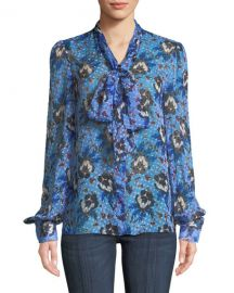 Diane von Furstenberg Lanie Floral Button-Front Tie-Neck Blouse at Neiman Marcus