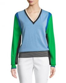 Diane von Furstenberg Long-Sleeve V-Neck Colorblock Pullover at Neiman Marcus