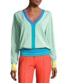 Diane von Furstenberg Long-Sleeve V-Neck Pullover Knit Top  Blue at Neiman Marcus