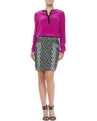 Diane von Furstenberg Maisy Contrast-Trim Blouse and Laury Honeycomb-Print Pencil Skirt at Neiman Marcus