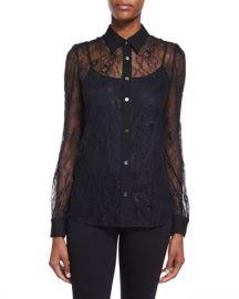 Diane von Furstenberg Mariah Long-Sleeve Lace Blouse  Black at Neiman Marcus