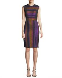 Diane von Furstenberg Metallic-Stripe Sleeveless Sheath Dress at Neiman Marcus
