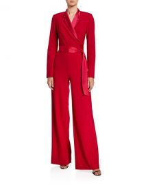 Diane von Furstenberg Monica Long-Sleeve Crepe Wrap Jumpsuit at Neiman Marcus