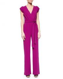 Diane von Furstenberg Purdy Tie-Waist Crepe Jumpsuit  Summer Beet at Neiman Marcus