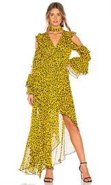 Diane von Furstenberg Ruffle High Low Maxi Dress in Heyford Goldenrod from Revolve com at Revolve