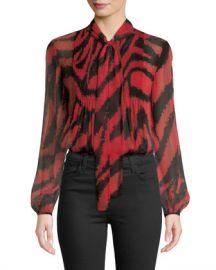 Diane von Furstenberg Sam Animal-Print Tie-Neck Silk Top at Neiman Marcus