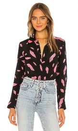 Diane von Furstenberg Samson Blouse in Falling Lips Black from Revolve com at Revolve