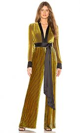 Diane von Furstenberg Sash Jumpsuit in Golden Rod  amp  Cabernet  amp  Multi from Revolve com at Revolve