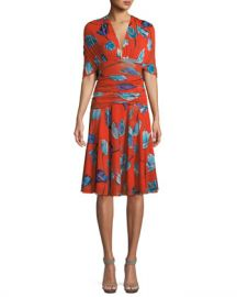 Diane von Furstenberg Shirred Floral-Print V-Neck Dress at Neiman Marcus