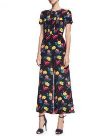 Diane von Furstenberg Short-Sleeve Cropped Flared Silk Jumpsuit at Neiman Marcus