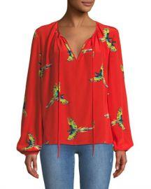 Diane von Furstenberg Silk Bird-Print Long-Sleeve Blouse at Neiman Marcus