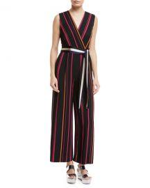 Diane von Furstenberg Sleeveless Crossover Wide-Leg Striped at Neiman Marcus