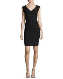 Diane von Furstenberg Sleeveless V-Neck Asymmetric-Seamed Dress Black at Neiman Marcus