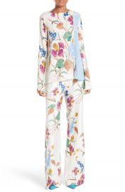 Diane von Furstenberg Slit Sleeve Print Stretch Silk Blouse at Nordstrom