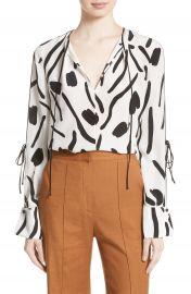 Diane von Furstenberg Slit Sleeve Silk Blouse at Nordstrom