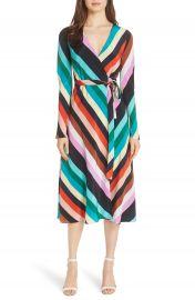 Diane von Furstenberg Stripe Silk Wrap Midi Dress at Nordstrom