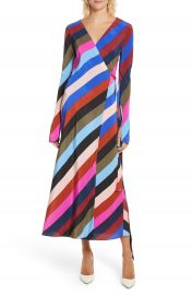 Diane von Furstenberg Stripe Silk Wrap Midi Dress at Nordstrom