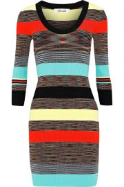 Diane von Furstenberg Striped ribbed-knit mini dress at The Outnet