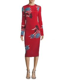 Diane von Furstenberg Tailored Long-Sleeve Floral Sheath Dress at Neiman Marcus