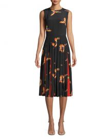 Diane von Furstenberg Talita Bird-Print Silk Pleated Sleeveless Dress at Neiman Marcus
